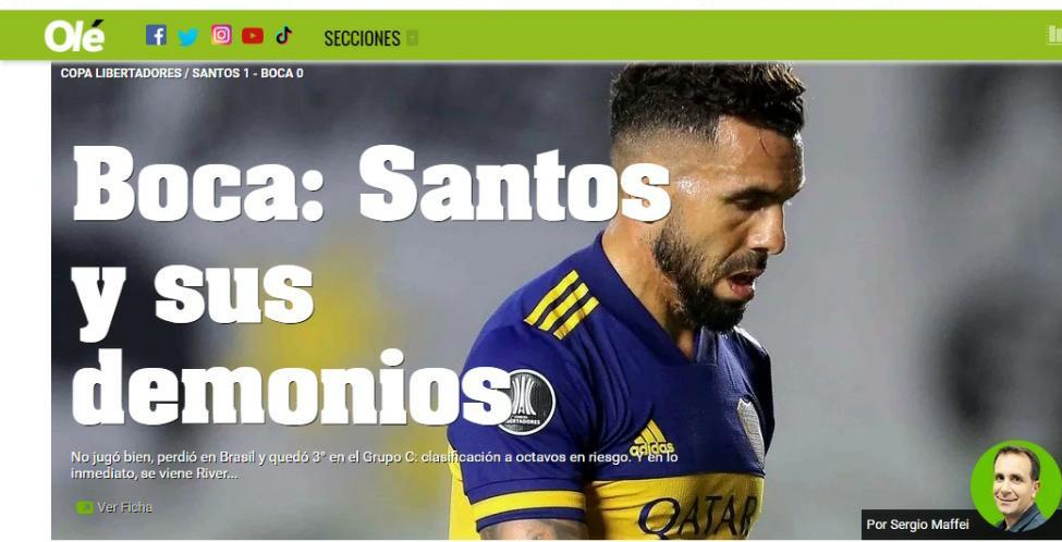 Diário Olé decreta: Santos é o pesadelo do Boca Juniors na Libertadores